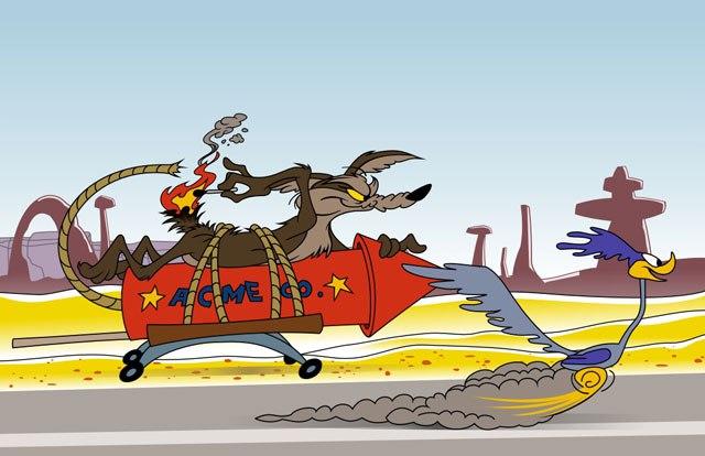 Wile E. Coyote chasing Roadrunner